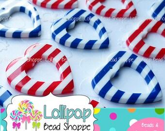 32mm Striped Heart Pendants RED WHITE BLUE Patriotic Pendants Heart Charms Resin Pendant 4 Chunky Necklace Bubblegum Beads Bubble Gum Beads