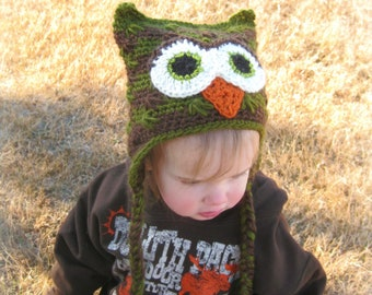 Owl Hat, Animal Hat, Crochet Owl Beanie, Owl Beanie, Crochet Owl Hat, Hat with Ears, Sleepy Owl Hat, Baby Owl Hat, Winter Hat, Baby Animal