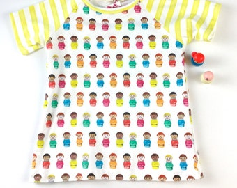 Little girl knit dress with raglan sleeves in FISHER PRiCE little people print-Spoonflower fabric -toddler -baby - short sleeve