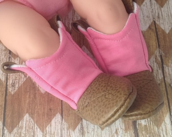 Pink Baby Cowboy Boots with Leather   Preemie   Newborn   3-6 Month   6-9 Month   9-12 Month   12-18 Month   18-24 Month
