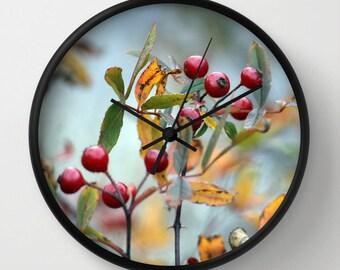 Hawthorn, Photo Wall Clock, Red, Blue,Botanical Clock,Retro Wall Clock,Home Decor,Round Clock,Summer Clock, Home Accessories,Interior Design