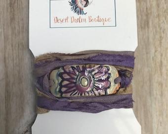 Boho Free Spirit Gypsy Soul Southern Country Rustic Ceramic Flower Child Silk Wrap Bracelet