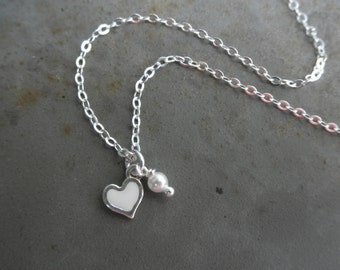 Enamel heart chain necklace with tiny pearl