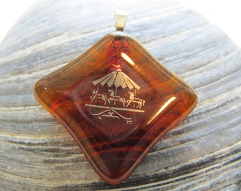 0093 - Amber Fused Glass Pendant with Platinum Carousel