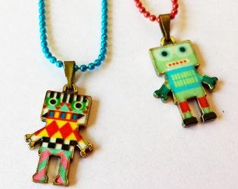Original Enamel Robot charm pendant chain necklace