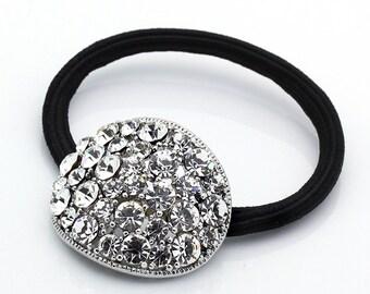 Hand Made Hair Jewelry swarovski crystal Round Hair Ponytail Holder, White(AZYS001-CL)