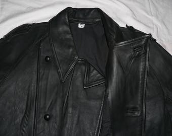 1990s French Police officers motorcycle leather jacket unworn XXL