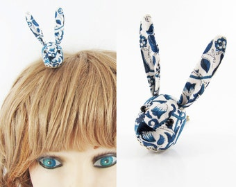 MADE-TO-ORDER ( 1 - 2 Weeks) Bunny Hair Clip- Liberty William Morris Blue