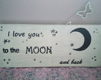 Wooden sign with lights hand painted and crafted