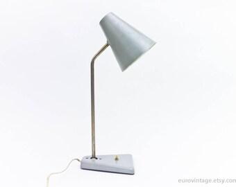 Vintage Pale Blue-Gray Desk Lamp / Vintage Design Table Lamp 50s 60s