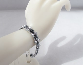 Camille Bracelet in Picaso Black and Grey with Silver Toggle Clasp