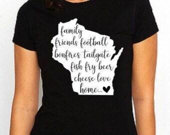 Custom Wisconsin State T-Shirt