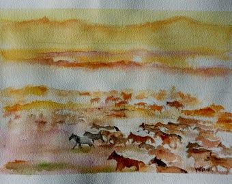 watercolor a herd of wild horses