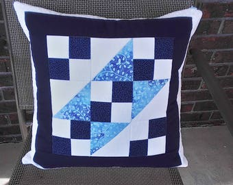 Pillow cover 18x18 quilted square in blues and white for an accent pillow