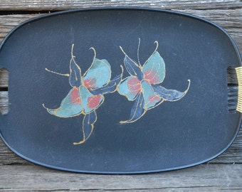Mid Century Serving Tray with wrapped handles,