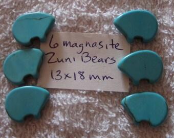 Turquoise Magnasite Zuni Bear Beads 18x13 mm x 6.