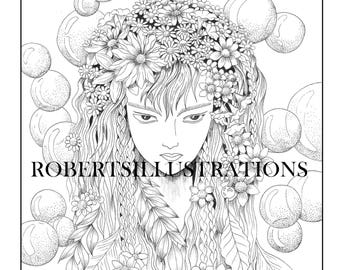 mystical coloring page fantasy coloring page instant download printable adult coloring page of
