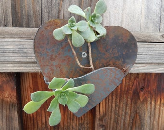 Heart shaped plant pocket garden wall hanger.