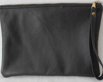 Handgelenktasche, schwarze Leder Clutch, recyceltem Lederhandtasche