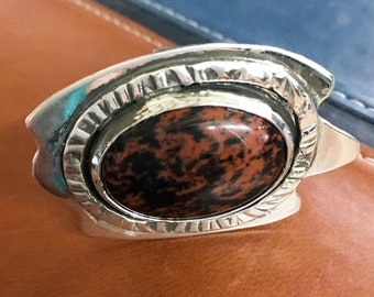 Silver Organic Shape Ring with Fire Jasper