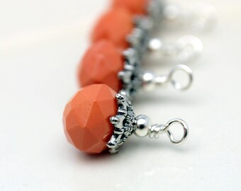 Vintge Style Coral Crystal and Ornate Bead Cap Dangle Charm Drop Set