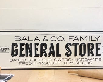 General Store Sign, Family Name Sign, Grocery Sign, Farmhouse Sign, Fixer Upper, Farmhouse Decor, Custom Wood Sign, Personalized Sign