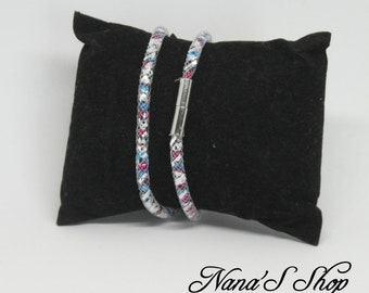 Necklace or bracelet, tube mesh, pink and blue stardust effect