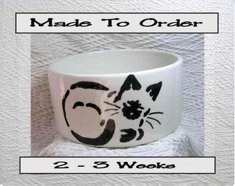 Siamese Stencil Cat Bowl Designed & Handmade By Grace M Smith Paw Prints Inside 20 Oz. Ceramic