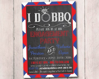 I DO BBQ Engagement Party Invitation Template - Chalkboard Wedding Shower Template - Red White Blue Invite Chalkboard Bridal Shower Gingham