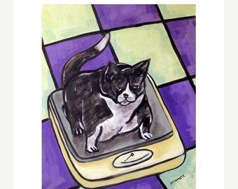 25% off cat art - Cat On a Diet Animal Picture Art Print, cat gifts, gift