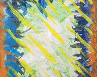 "Tan, Green, Yellow, Orange and Blue Original Acrylic Abstract Painting on Canvas ""Series 1 LXXXVIII"" Wall Art, Home Decor, Interior Design"