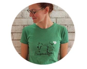 Kelly Green Sewing Machine T Shirt,Ladies Cotton Crewneck Tshirt, Graphic Tee,  Women, Woman, Seamstress Shirt Gift For Crafter, Screenprint