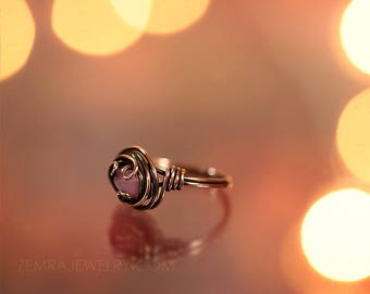 Copper Wire Wrap Rose Opal Czech Glass Boho Ring Size 7.5 Copper Jewelry Wire Wrap Ring Waves Wire Loops October Birthstone Solitaire Ring