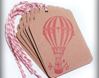 Vintage Hot air balloon 6 tag carnival circus childrens birthday Wish Tree Merchandise Tags gift