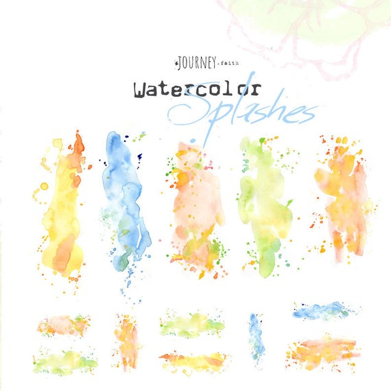 Watercolor splashes  - digital download for bible journaling, card making and craft