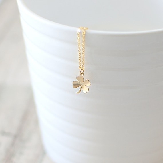 Four leaf clover necklace gold clover pendant necklace like this item aloadofball Image collections