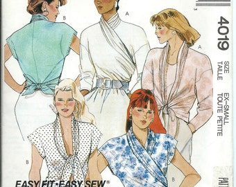 McCall's 4019 Misses Set of Wrap Tops Pattern, Size X-Small  & Small UNCUT