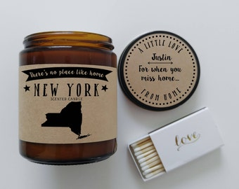 New York Scented Candle Missing Home Homesick Gift Moving Gift New Home Gift No Place Like Home State Candle Miss You Mothers Day Gift