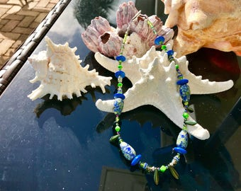 Blue Sea Sediment Jasper & Blue and Green Glass Beads Necklace