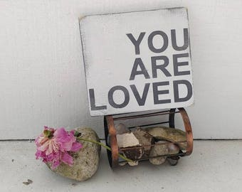 YOU ARE LOVED wood sign // distressed wood sign // farmhouse style // nursery decor // babys room