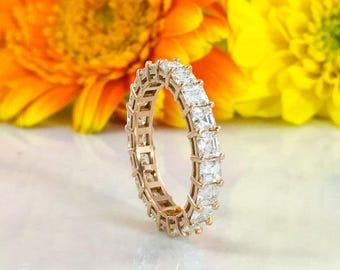 3.19CT Asscher Diamond 18K Rose Gold Eternity Ring Anniversary Engagement Band Certified VS