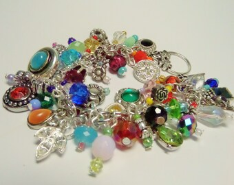 "Upcycled Charm Bracelet- ""Baubles and Bling""."