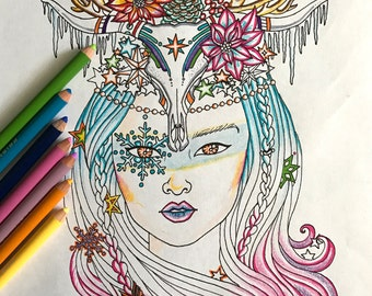 Printable Winter Girl coloring page
