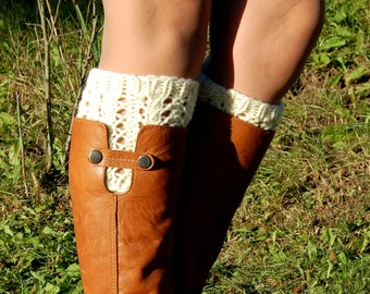 Knitted Boot Cuffs, Hand knit Boot Cuffs, Boot Toppers, Handmade, Wool Boot Cuffs,Womens Boot Cuffs, Leg warmer, Womens Boots Socks