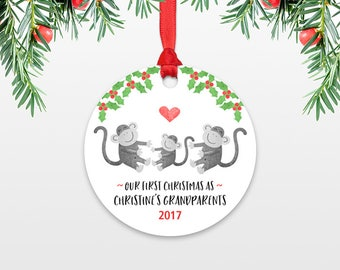Monkey Christmas Ornament First Christmas as Grandparents Gift New Grandma Gift New Grandpa Gift Christmas Ornaments Personalized Gift