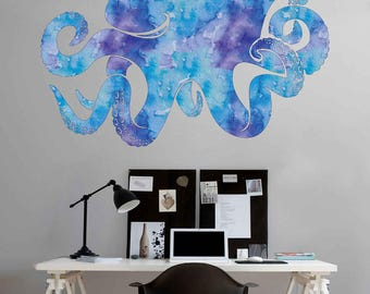 Octopus Wall Decal Kraken Decal Sea Animals Octopus Vinyl Wall Decals Nautical Wall Decals Bedroom Bathroom Decor kcik1884
