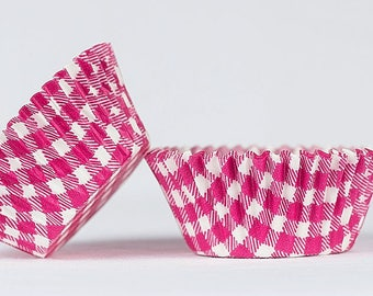 50pc Standard Size Hot Pink Gingham/Plaid Baking Cup With Greaseproof Liner