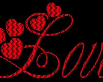 Valentine Hearts Machine Embroidery Alphabet Monogram Fonts Designs Instant Download Sale