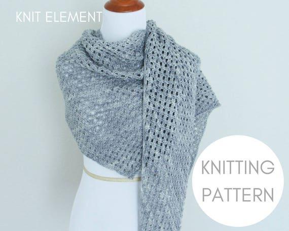 Shawl Pattern Worsted Knitting Pattern Knit Scarf Pattern