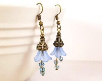 Light Blue Flower Dangle Earrings, Bronze Dangle Earrings, Floral Earrings, Iridescent Crystal Earrings, Gift for Wife, Gift for Mom